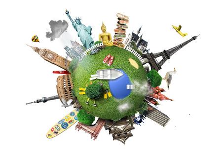 paz mundo: Pequeño planeta con puntos de referencia de todo el mundo