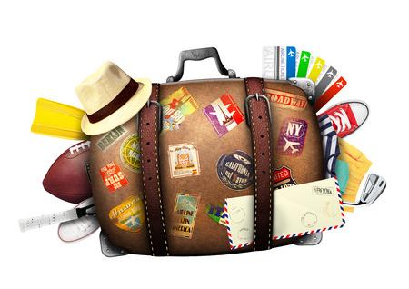 Znalezione obrazy dla zapytania stara walizka z naklejkami