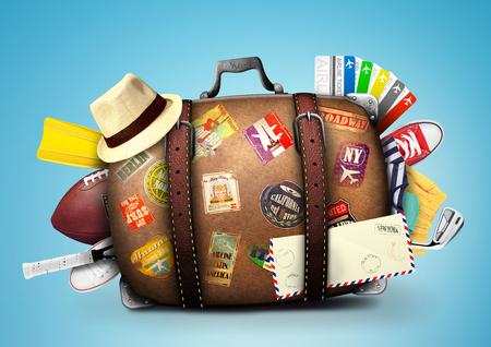 Valigia piena di un viaggiatore con adesivi di viaggio Archivio Fotografico - 46099453