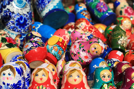 Russia, Moscow gift shop with colored dolls Stock Photo