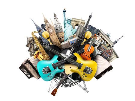 음악 콜라주, 악기 및 세계 랜드 마크 스톡 콘텐츠