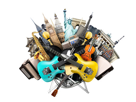 concert flute: Music collage, musical instruments and world landmarks