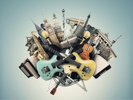 instrumentos musicales: Collage de música, instrumentos musicales y monumentos del mundo