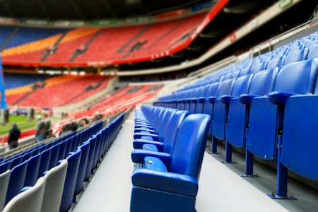 grandstand: Football stadium without spectators, empty stands