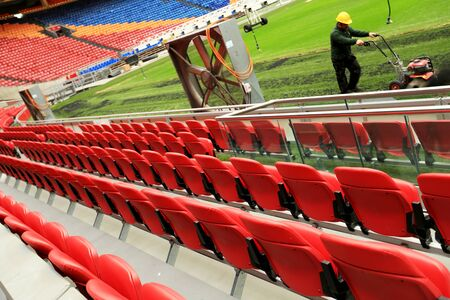 building structures: Repair soccer fields, football stadium without spectators