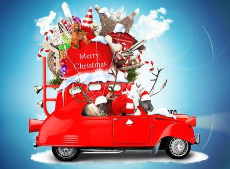 reno: Santa Claus con renos en un coche con los regalos