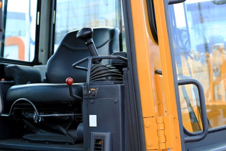 work place: Work place in forklift with dashboard Stock Photo