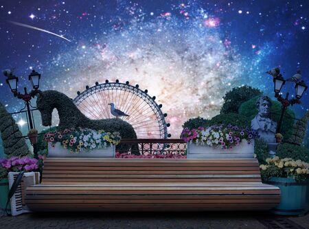 banc de parc: Banc dans la ville Parc avec fleurs et accordéon Banque d'images