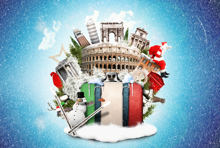 Italy, winter Christmas collage with landmarks of Italy 스톡 콘텐츠
