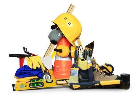 herramientas de trabajo: Diseño de calzado con las herramientas y casco de la construcción Foto de archivo