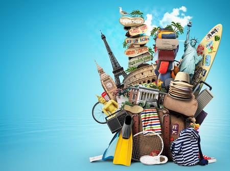 Bagagem, mercadorias para as férias, lazer e viagens