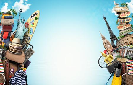 viagem: Bagagem, mercadorias para as férias, lazer e viagens