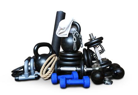 équipement: L'équipement sportif pour la musculation collectés dans un tas