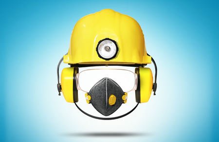 respiration: Construction helmet with earphones, goggles and respiration Stock Photo