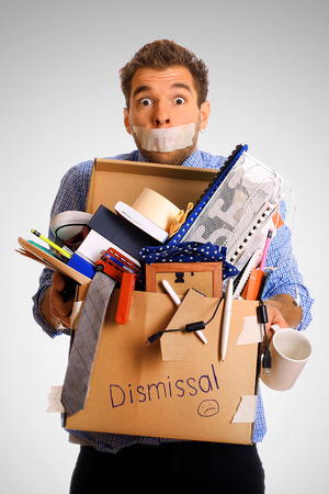 dismissed: Dismissed worker with a box of his things Stock Photo