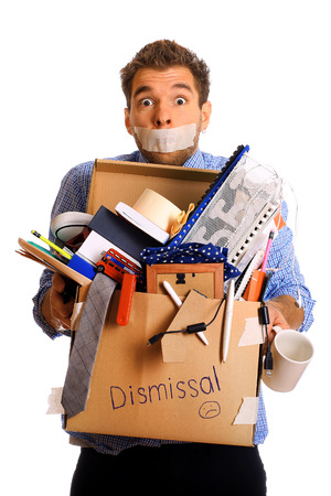 'young things': Dismissed worker with a box of his things Stock Photo