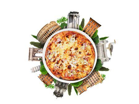 comida italiana: pizza italiana en el fondo de los monumentos romanos