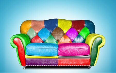 old furniture: Great colorful and comfortable leather sofa classic style