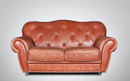 brown leather sofa: Large and comfortable brown leather sofa in classic style