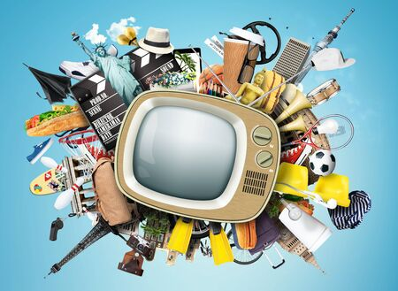 retro tv: Retro TV with an antenna and different things Stock Photo