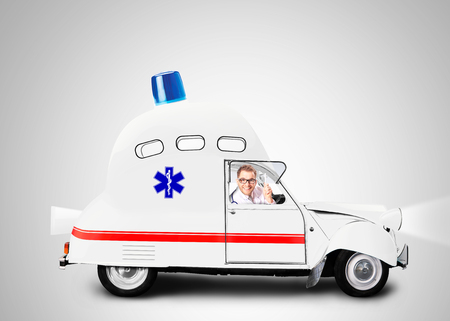 ambulance car: Ambulance car with flasher is a medical service