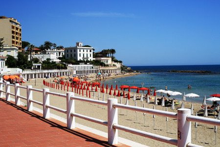 Urban landscape of the beach with the sea Stock Photo