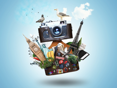 Jahrgang Kamera mit Ledertasche und Sehenswürdigkeiten