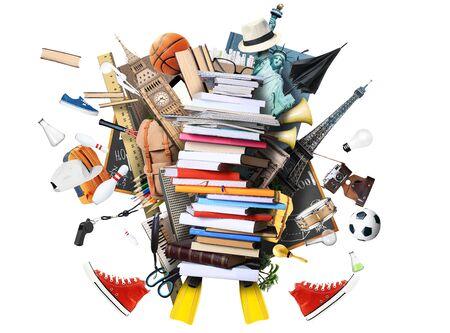 color in: Libros y revistas en diferentes colores y tamaños