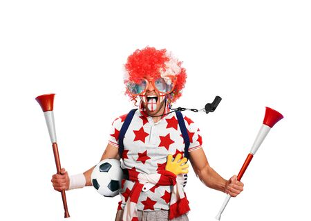 vuvuzela: English football fan in a red wig and horns