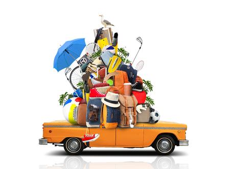 休暇、旅行、休日のものの巨大な山