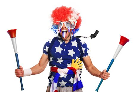 Football fan in a coloured wig and Euro France Stock Photo