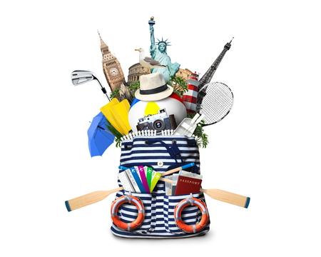 oars: Striped sea bag with oars and plane tickets