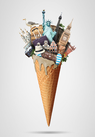luggage travel: Waffle cone with landmarks and with the travel Luggage Stock Photo