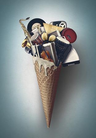 Musica, strumenti musicali in un cono di cialda