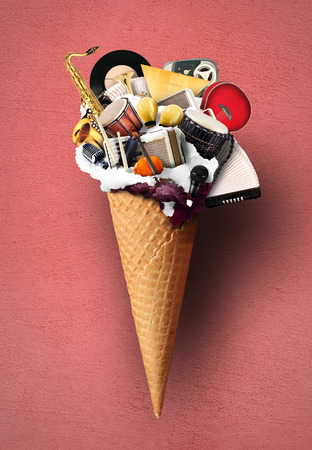 Music, musical instruments in a waffle cone