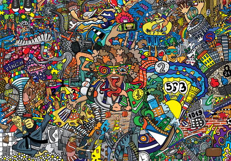 Sports collage on a large brick wall, graffiti Imagens