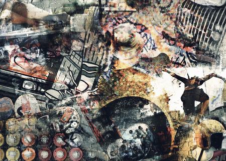 equipo de sonido: Collage de música, color y brillante fondo musical Foto de archivo