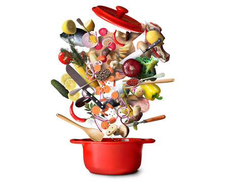 Big red pot with vegetables and meat