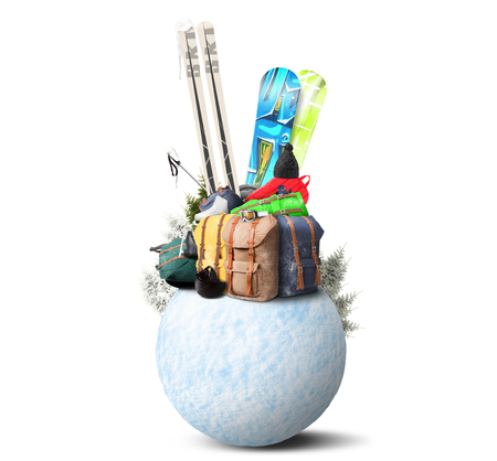 baggage: Baggage tourist skier and snowboarder, winter travel