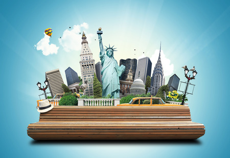 new york taxi: USA, classic yellow New York taxi and landmarks Stock Photo