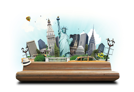 USA, classic yellow New York taxi and landmarks Stock Photo
