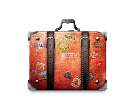 Retro koffer van een reiziger met reis stickers Stockfoto - 71474819