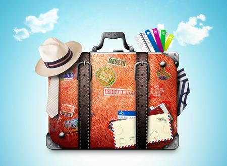 Retro koffer van een reiziger met reis stickers