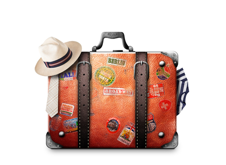 Retro suitcase of a traveler with travel stickers