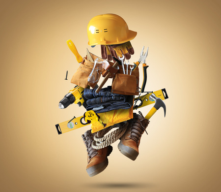 boilersuit: Construction tools with a shoes and a helmet Stock Photo