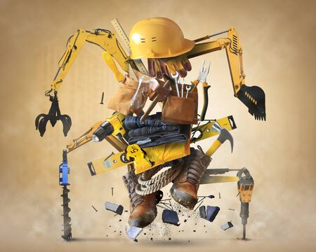 Building tools and equipment like a construction robot