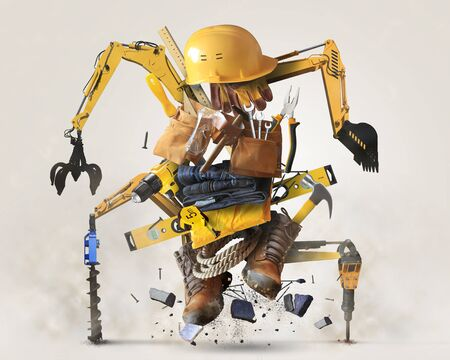 Building tools and equipment in the form of a robot Stock Photo