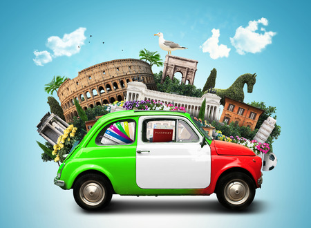 이탈리아, 관광 명소 이탈리아 및 복고풍 이탈리아 자동차 스톡 콘텐츠 - 74035564