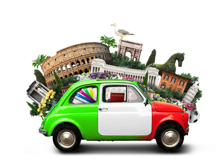 Italy, attractions Italy and retro italian car Reklamní fotografie - 74035565