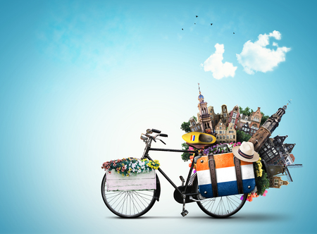 Holland, a city bicycle with Dutch attractions Фото со стока